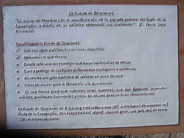 Centro budista GR Rueda de oraciones - placa explicativa