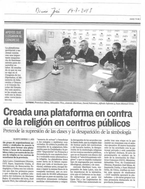 Plataforma Escuela Diario Jaén 14_3_2013