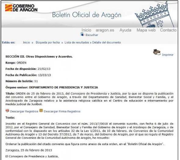 Convenio asistencia religiosa menores Aragón