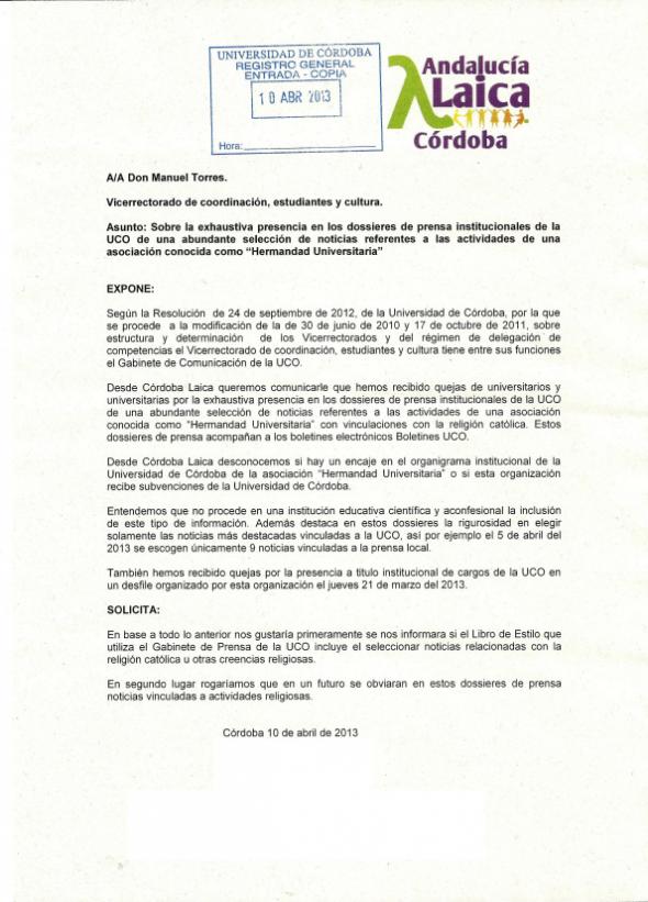 escrito-rectorado-hermandad-universitaria Córdoba Laica 2013