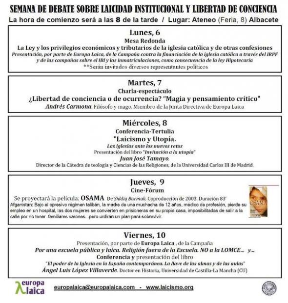 Semana laicidad Albacete 2013