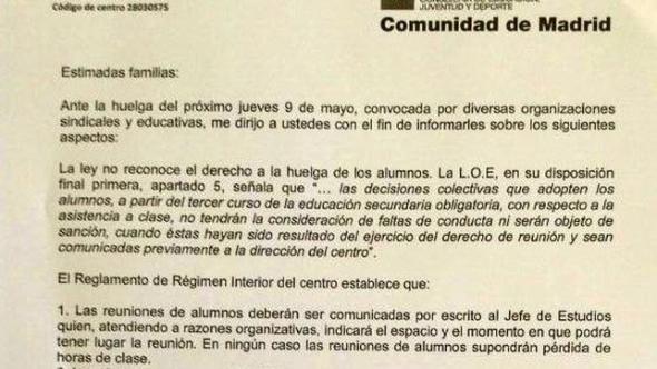 Carta IES Madrid contra huelga 2013