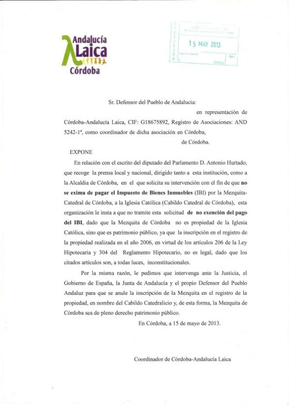 Escrito Córdoba Laica Defensor Mezquita 2013