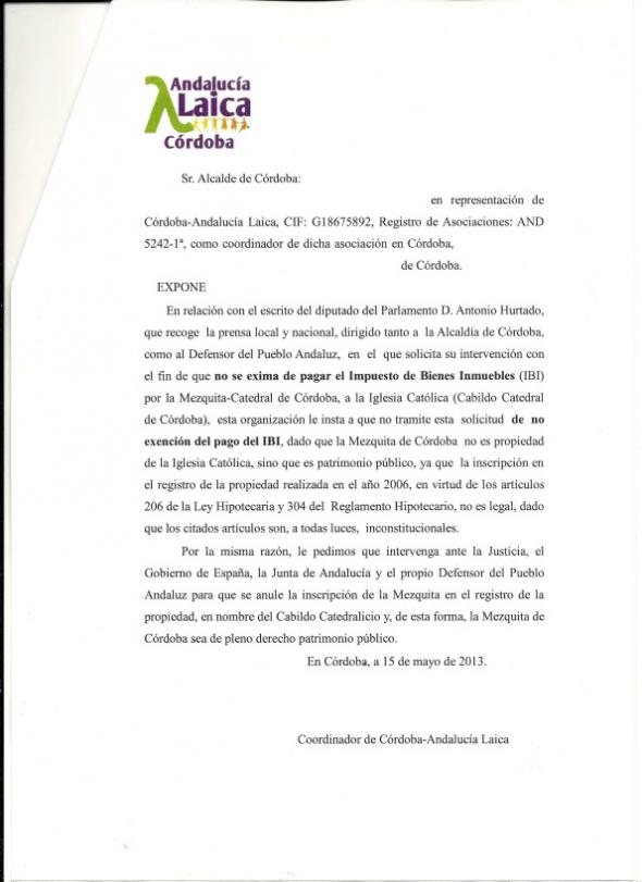Escrito Córdoba Laica Ayuntamiento Mezquita 2013