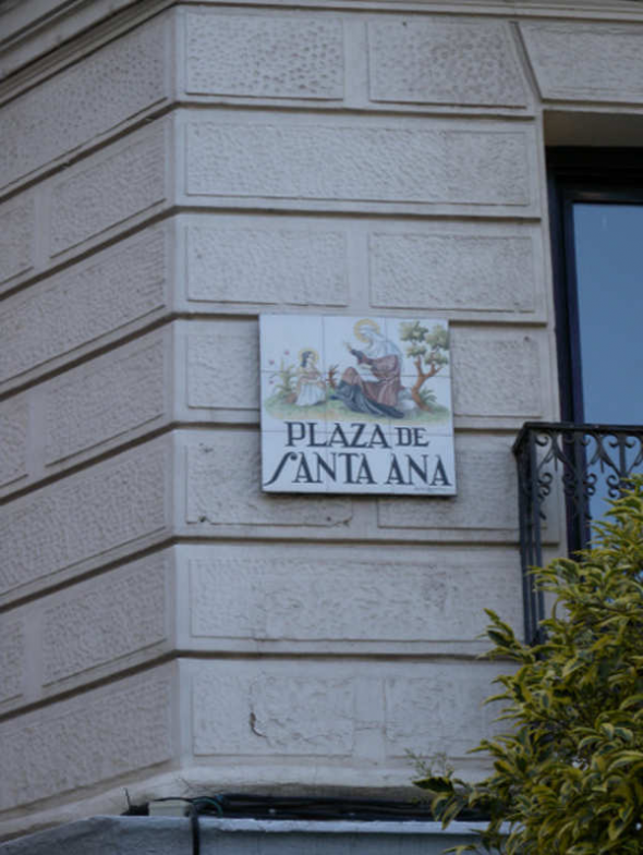 Placa Plaza Santa Ana Madrid