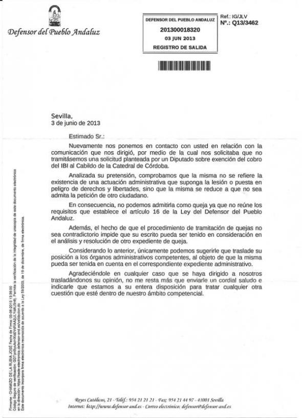 respuesta Defensor Andaluz IBI mezquita