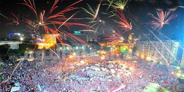 Plaza Tahrir El Cairo 2013 celebrando golpe militar