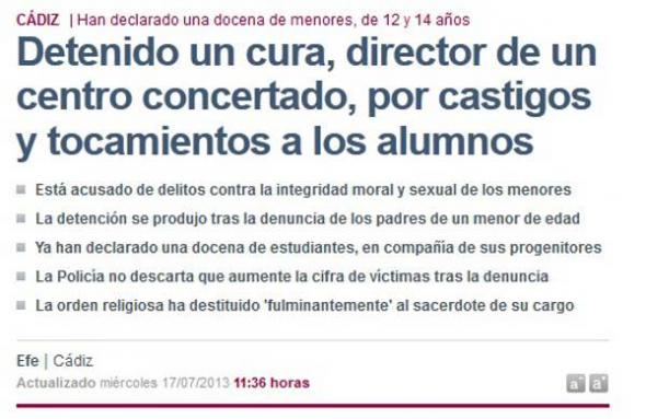 Abusos sexuales religioso Cádiz