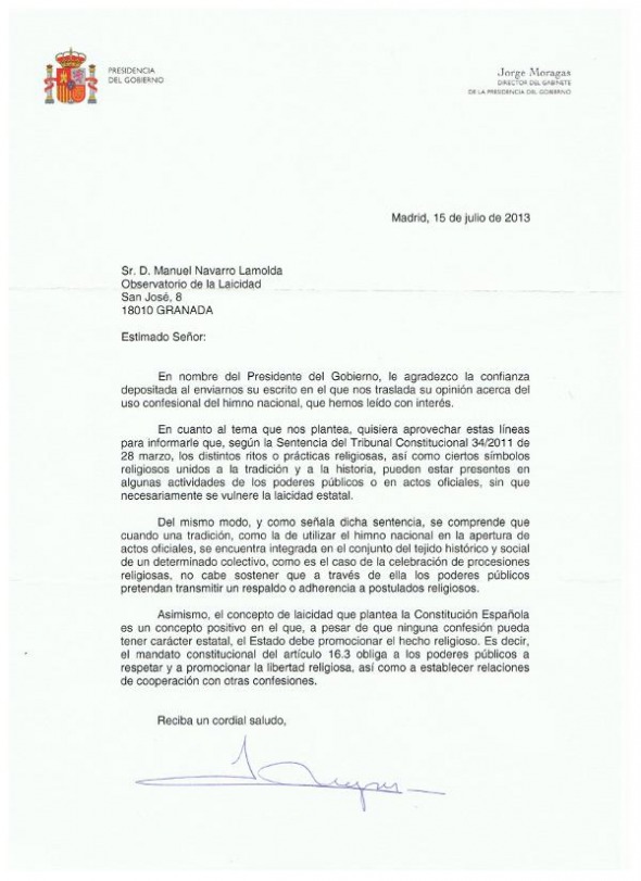 Respuesta Presidencia militares himno actos religiosos 2013