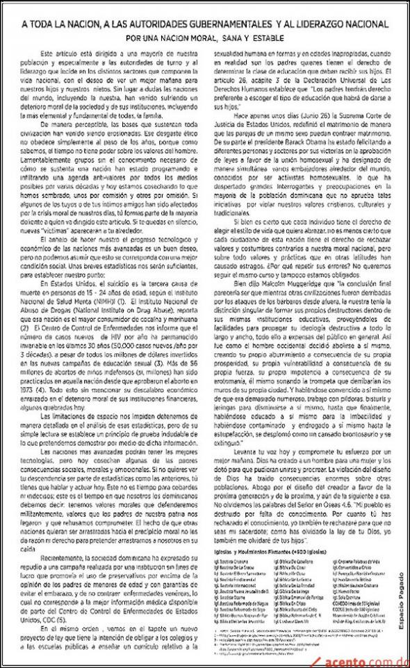 Comunicado iglesias Por una moral nacional R Dominicana