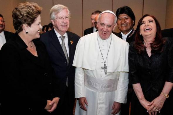 Bergoglio con presidentes Dilma Evo Cristina