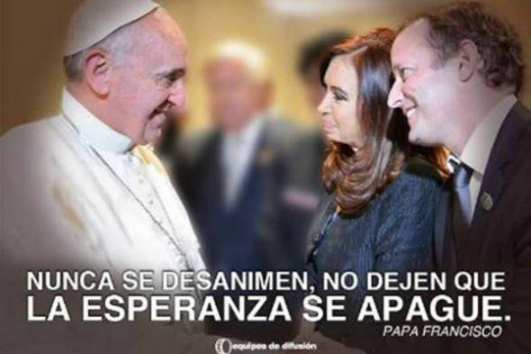 cartel Bergoglio y Cristina Argentina