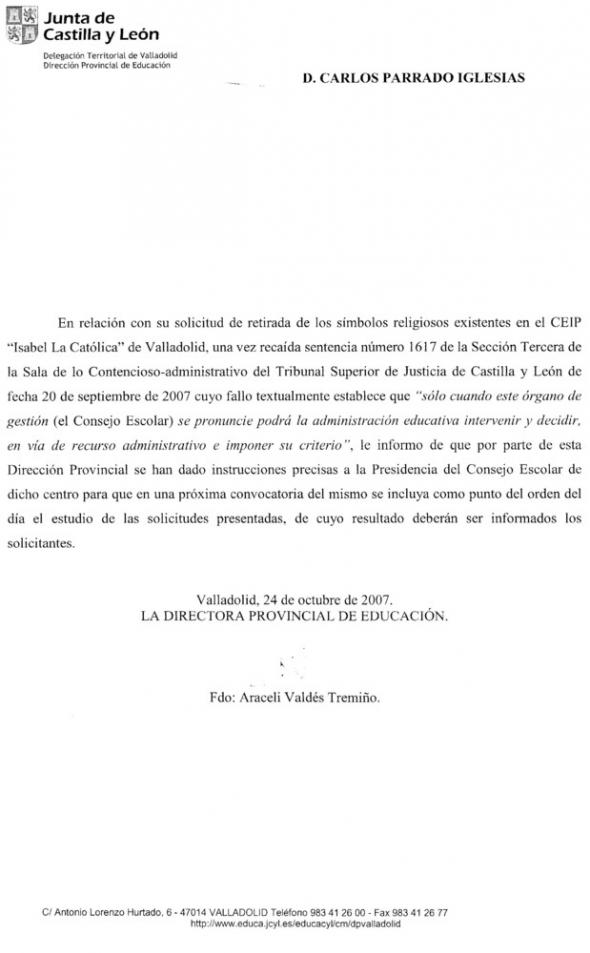 respuesta delegación Valladolid retirada crucifijo 2007