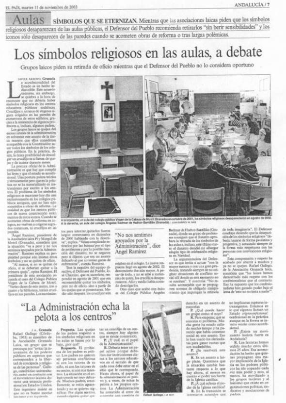 Los simbolos religiosos en las aulas, a debate El País 2003