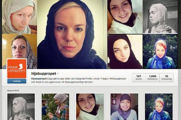 acción velo contra racismo en Suecia 2013