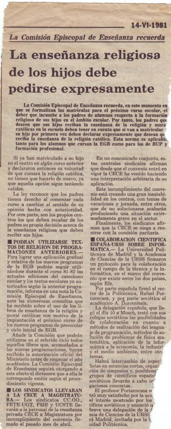 enseñanza religiosa 1981