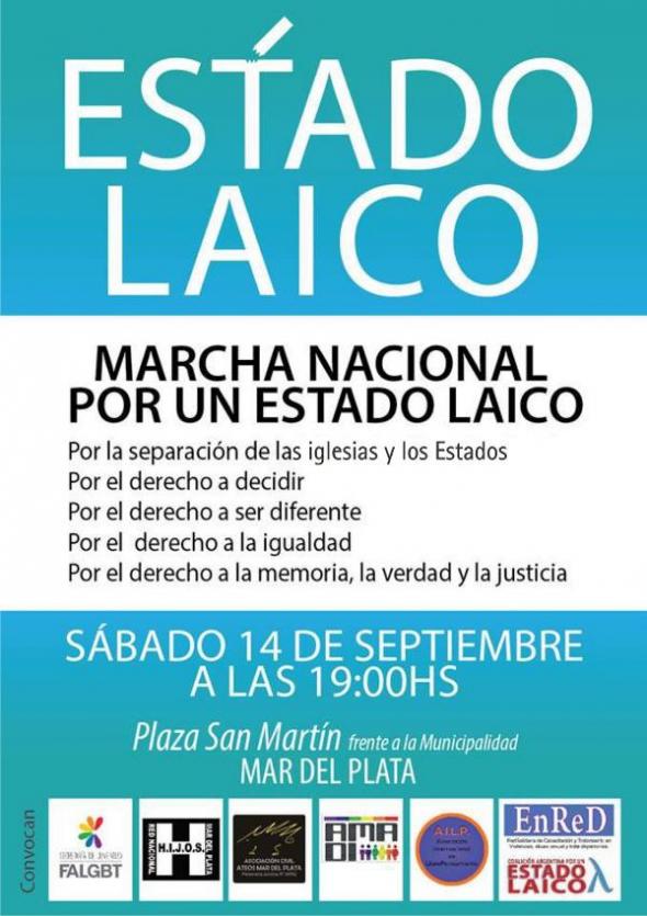 Cartel marcha Estado Laico ARG 2013