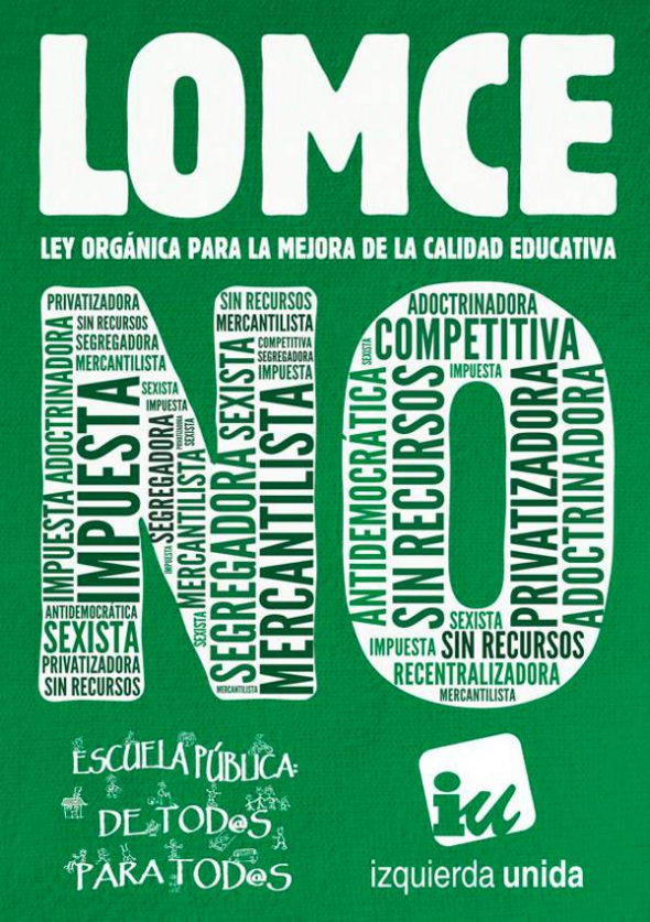 Cartel lomce no IU