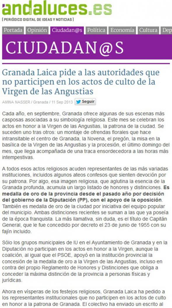 Granada Laica en Andaluces