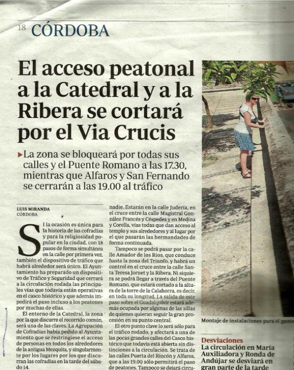 Acceso Peatonal Bloqueado por el Via Crucis Magno Córdoba 2013