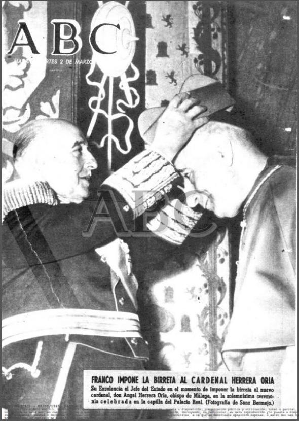 Franco impone birrete cardenal Herrera Oria