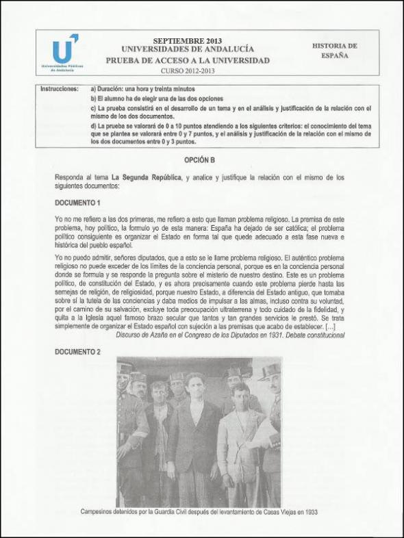 Examen Historia España - Select. sept. 2013 - Opción B