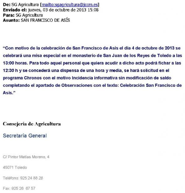 dispensa misa Asis Castilla La Mancha 2013