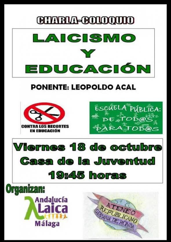 cartel Ronda Laicismo y Educación