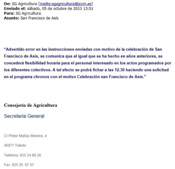 dispensa misa Asis Castilla La Mancha rectificando