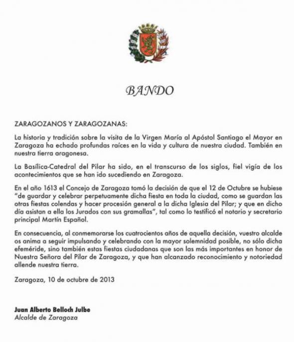 Bando Pilar Alcalde Zaragoza 2013
