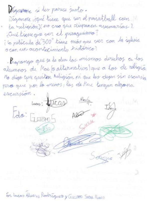 carta alumnos ESO religión 2