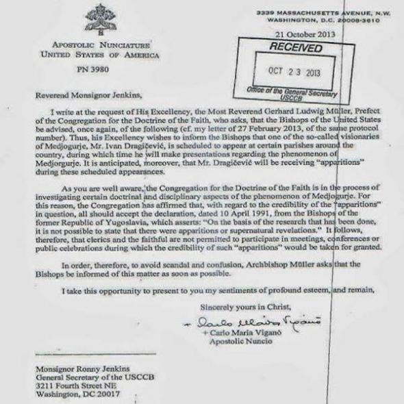 Medjugorje carta Vaticano