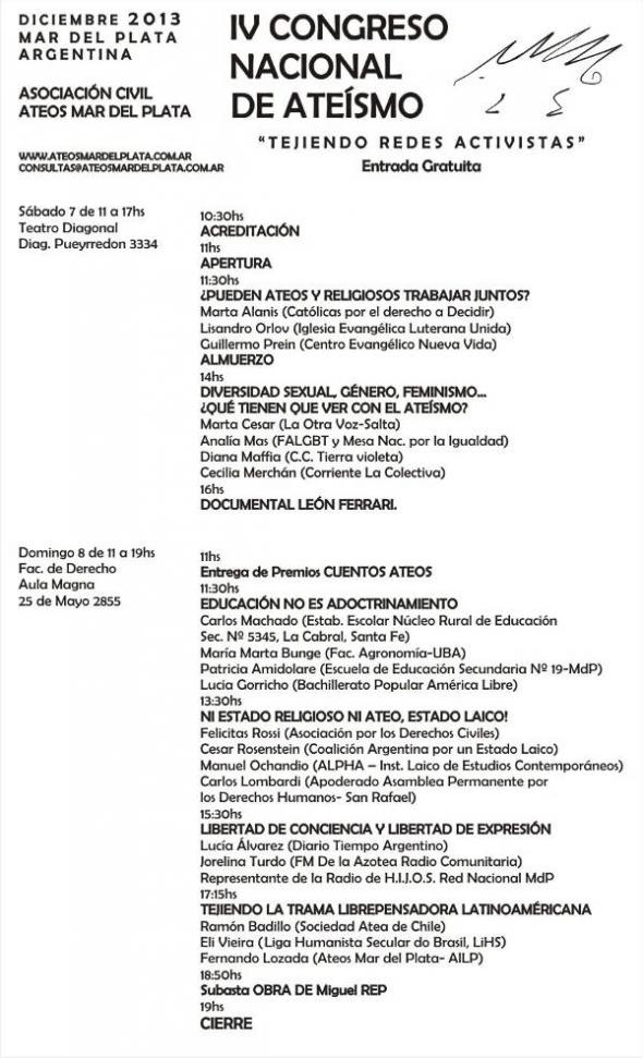 Programa IV Congreso ateo ARG 2013