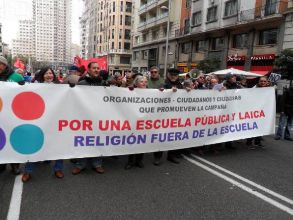 mani contra LOMCE nov2013 Madrid Laico