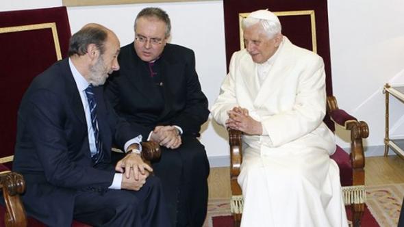 Rubalcaba con Ratzinger en Santiago 2010