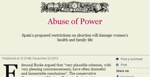 Ley aborto criticada en The Time