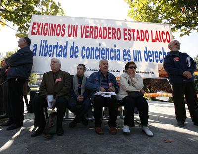 El lider de Izquierda Unida Cayo Lara en el acto Convocatoria por un estado Laico.PUBLICO Reyes Sedano