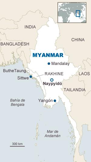 mapa Myanmar Birmania