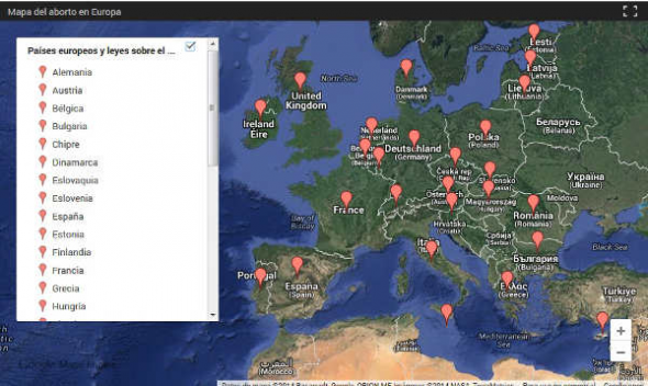 mapa aborto Europa 2014