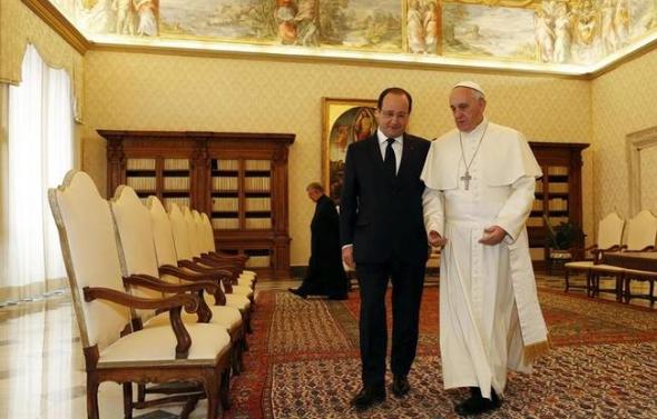Hollande y Bergoglio 2014