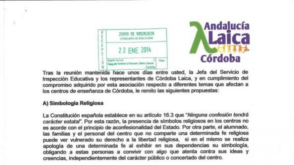 reunión Córdoba Laica con Delegada Educación 2014