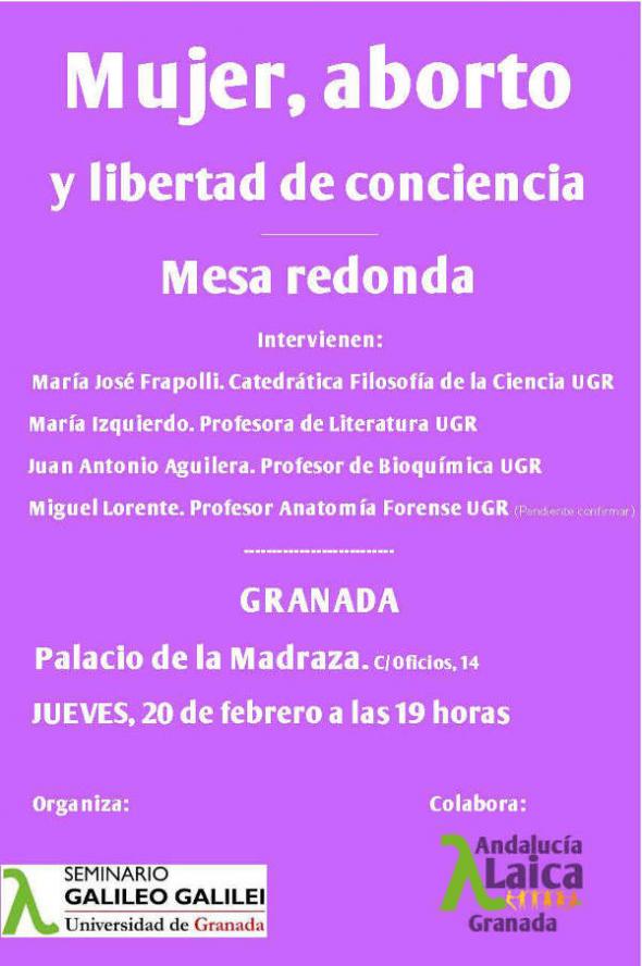 Cartel Mujer aborto libertad de conciencia GR2014