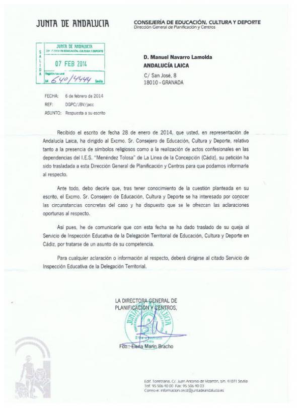 Respuesta CEJA denuncia IES La Linea 2014