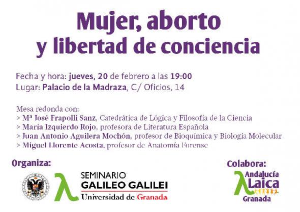 Cartel mujer aborto Seminario Galileo