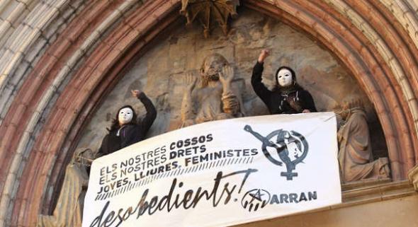 protesta aborto iglesia Barcelna 2014