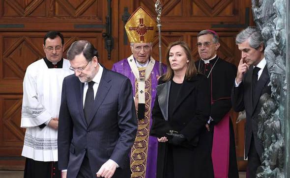 Rouco y Rajoy funeral Suarez 2014