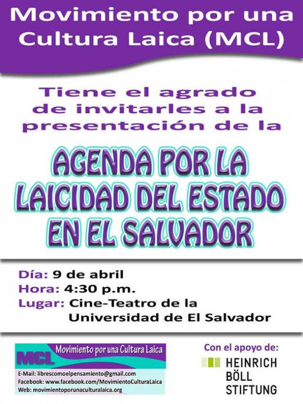 Agenda laicidad El Salvador 2014