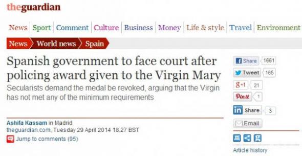 denuncia medalla virgen en The Guardian
