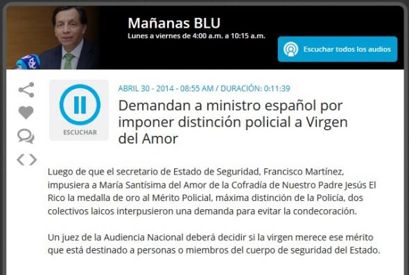 noticia medalla virgen en Colombia