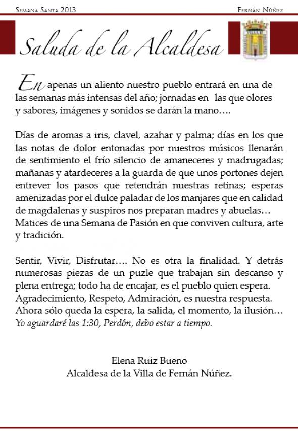 alcaldesa Fernan Nuñez semana santa